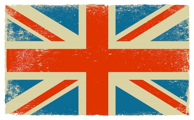 Ancien drapeau vintage du royaume-uni Vecteur Premium