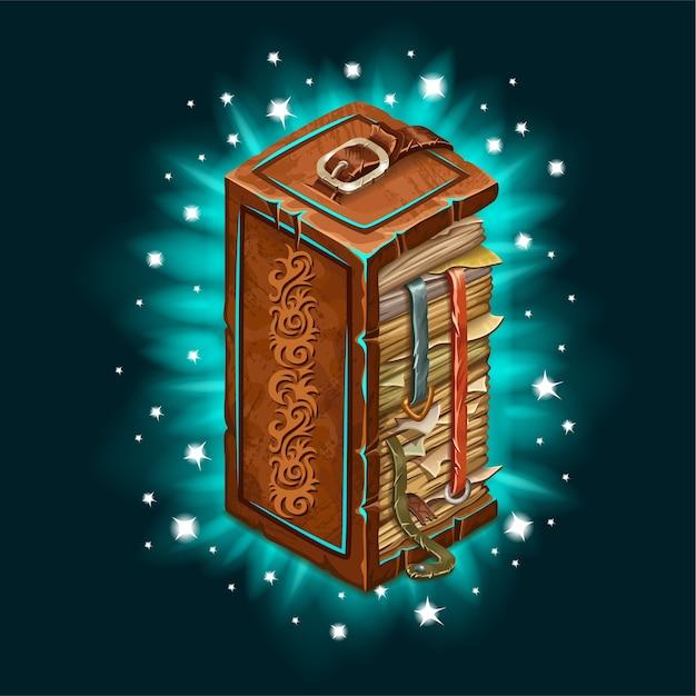 Ancien Livre De Sorts Magiques Avec Rétro-éclairage. Vecteur Premium