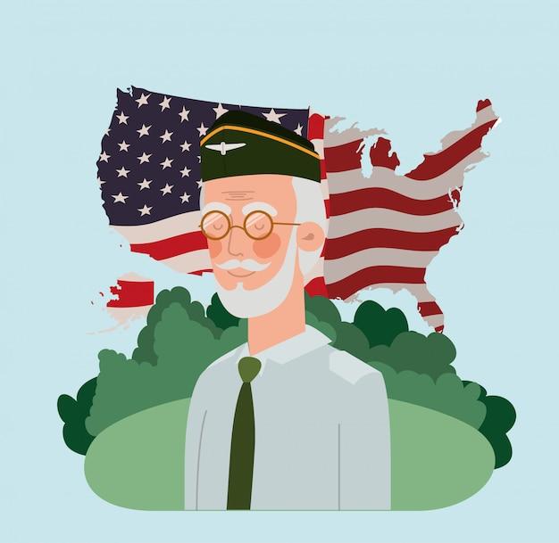 Ancien militaire avec drapeau américain et carte sur le terrain Vecteur Premium