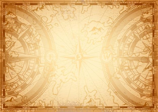 Ancien Modèle De Carte Nautique Vecteur gratuit