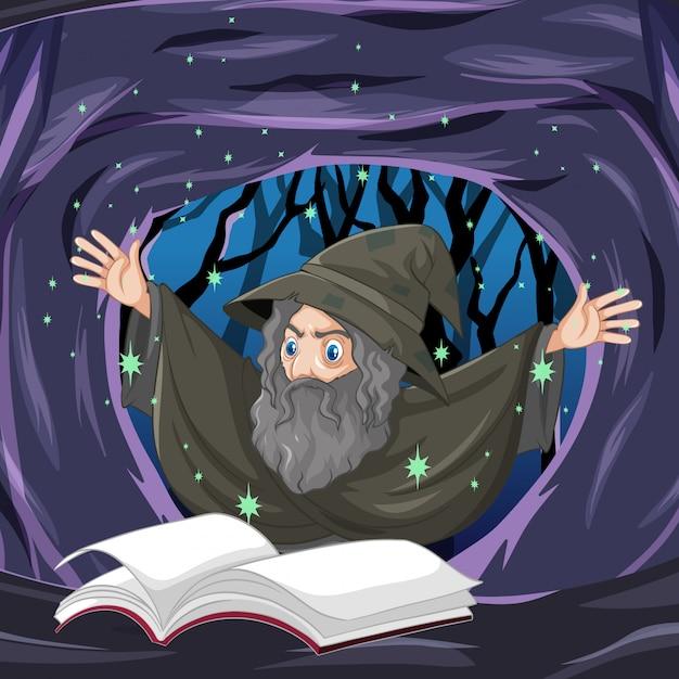 Ancien Sorcier Avec Sort Et Livre Style Cartoon Sur Fond De Grotte Sombre Vecteur gratuit