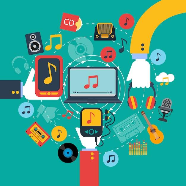 Ancienne affiche d'applications de musique rétro à 3 mains tenant des tablettes et un téléphone mobile Vecteur gratuit
