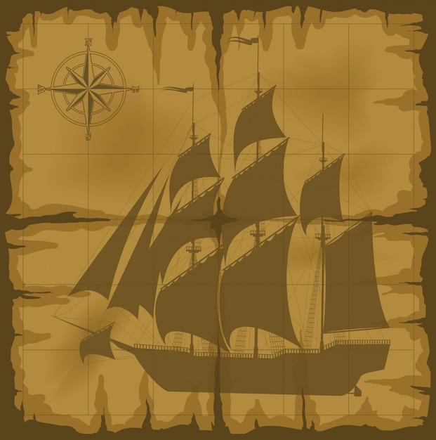 Ancienne carte avec image et illustration vectorielle boussole Vecteur Premium