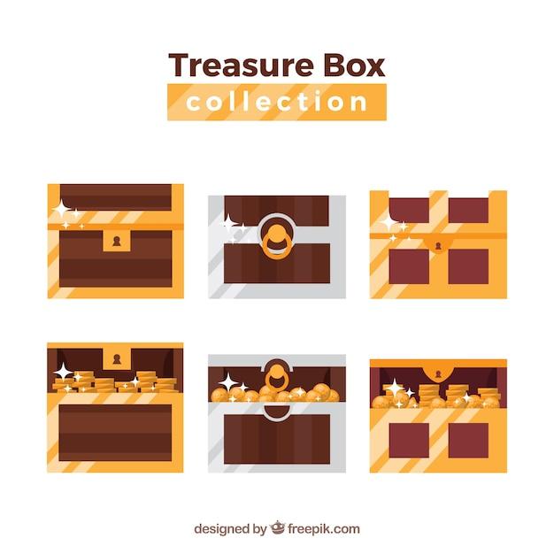 Ancienne collection de coffre au trésor avec un design plat Vecteur gratuit