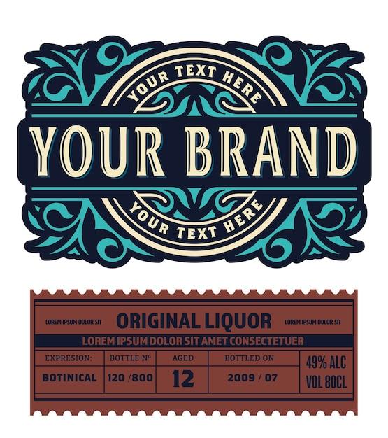 Ancienne Conception D'étiquettes Pour étiquette De Whisky Et De Vin, Bannière De Restaurant, étiquette De Bière. Vecteur Premium