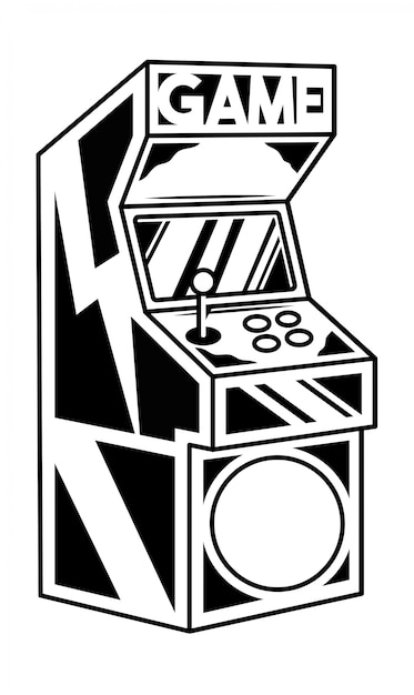 Ancienne Machine De Jeu D'arcade Classique Pour Jouer à Un Jeu Vidéo Rétro. Vecteur Premium