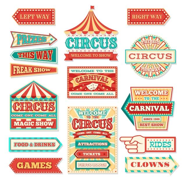 Anciennes Bannières De Cirque De Carnaval Et étiquettes De Carnaval Vector Ensemble Vecteur Premium