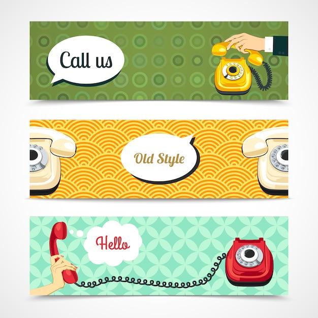Anciennes bannières téléphoniques horizontales Vecteur gratuit