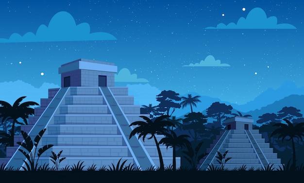 Anciennes Pyramides Mayas Dans La Nuit Avec Des Plantes Tropicales, Jungle Et Fond De Ciel En Style Cartoon Plat. Vecteur Premium
