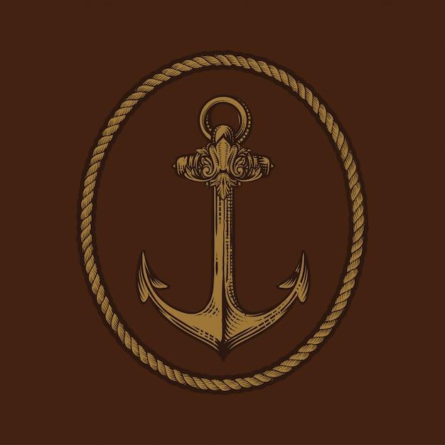 Ancre gravée vintage dans le style de vieux dessinés à la main ou de tatouage, dessin pour thème marin, aquatique ou nautique, coupe du bois Vecteur Premium