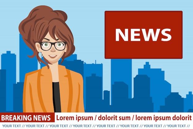 Ancre de nouvelles diffusant les nouvelles Vecteur Premium