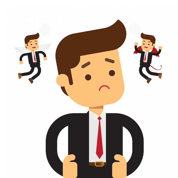 Ange et diable planant sur un homme d'affaires pensant Vecteur Premium