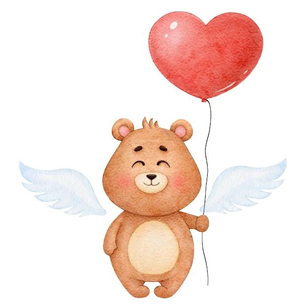 Ange Mignon D'ours Aquarelle Avec Coeur De Ballon, Illustration Pour La Saint-valentin Vecteur Premium