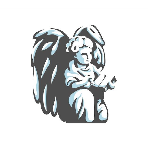Ange Avec Vecteur De Logo Crayon Et Livre Vecteur Premium