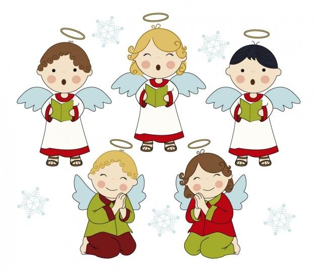 Anges chantants adorable Vecteur gratuit