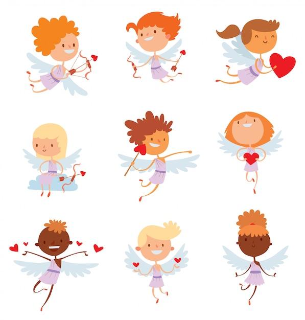 Anges De Cupidon Valentine Day Cartoon Style Illustration Vectorielle Vecteur Premium