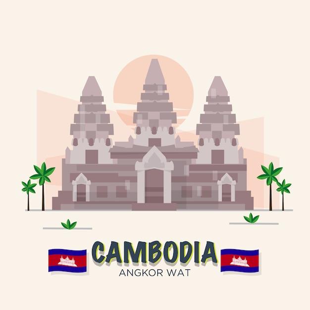 Angkor Vat. Cambodge Landmark. 7ème Merveille Du Monde. Ensemble Asiatique. Vecteur Premium