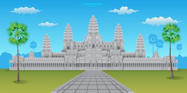 Angkor Wat Est L'un Des Sites Du Patrimoine Mondial Situé Au Cambodge, C'est Le Plus Grand Temple Hindou Du Monde. Vecteur Premium