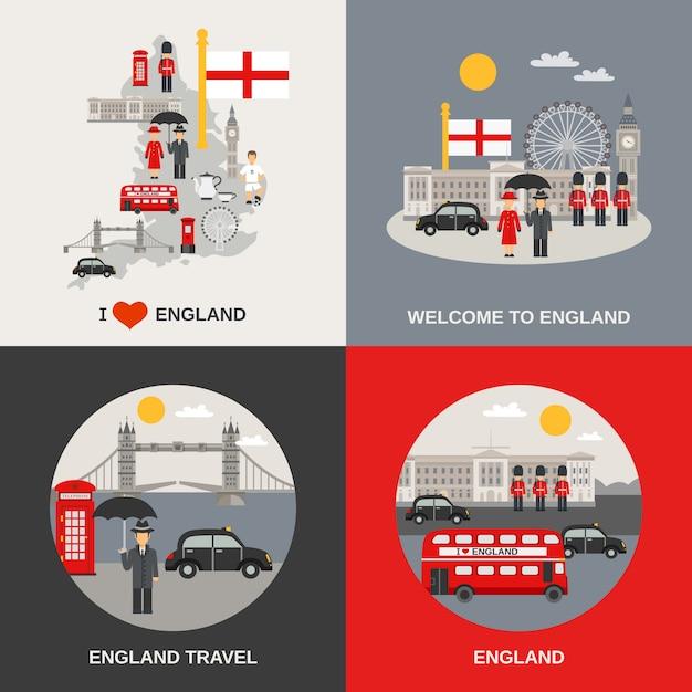 Angleterre culture travel images vectorielles Vecteur Premium