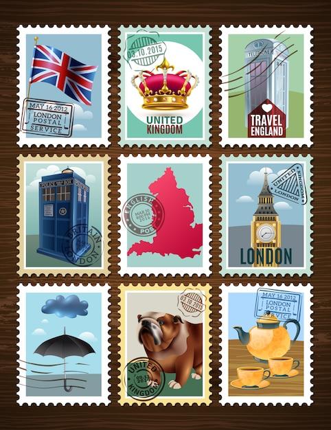 Angleterre posters set Vecteur gratuit