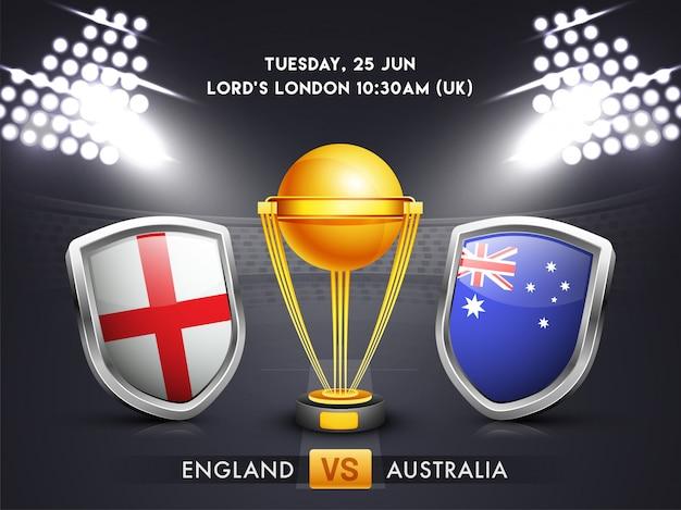 Angleterre vs australie, concept de match de cricket. Vecteur Premium