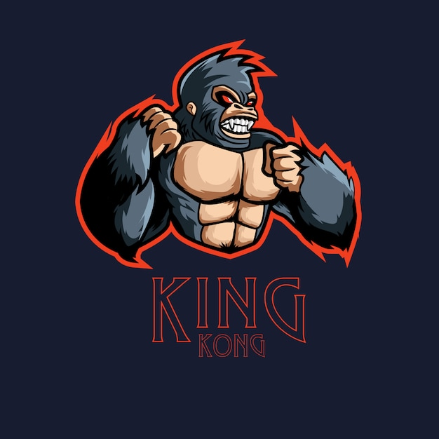 Angry kingkong caractère logo gaming logo mascotte Vecteur Premium
