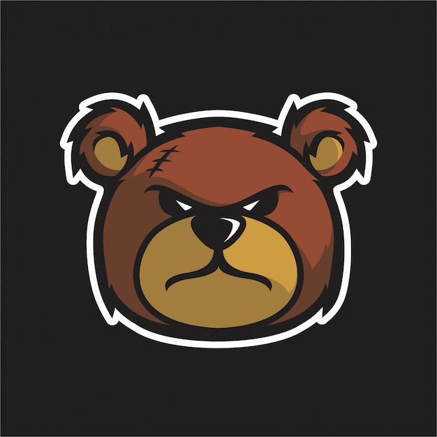 Angry teddy besar tête vecteur Vecteur Premium