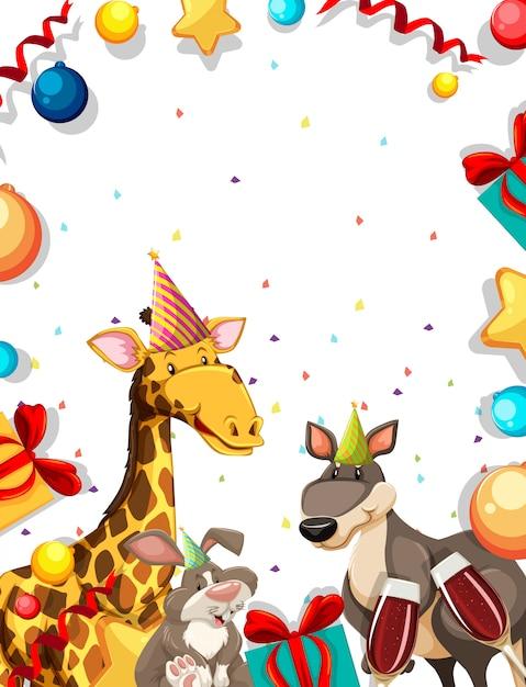 Animal sur cadre de fête Vecteur gratuit