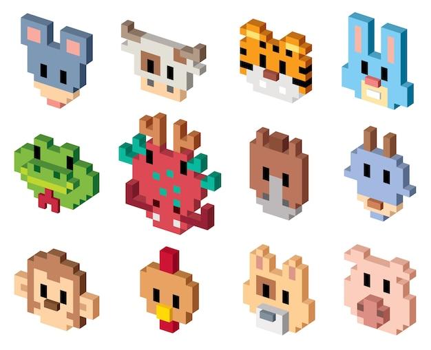 Animal Cartoon Pixel Art Télécharger Des Vecteurs Premium