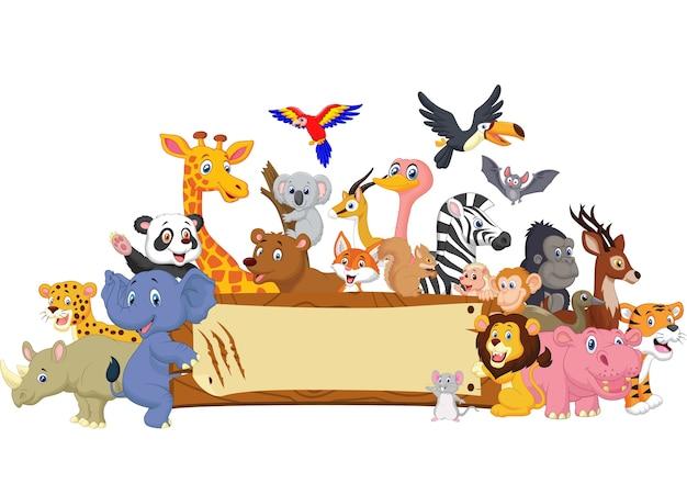 Animal cartoon avec signe vierge Vecteur Premium