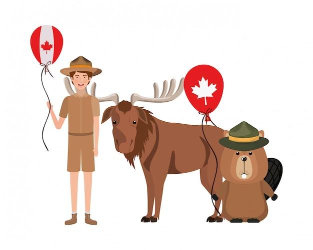 Animal Castor Et Orignal Du Canada Vecteur gratuit