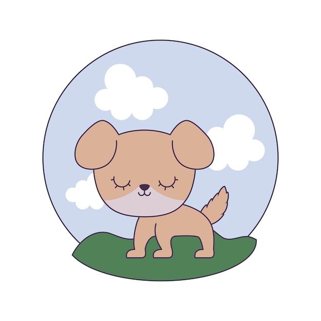 Animal chien mignon en scène de paysage Vecteur Premium