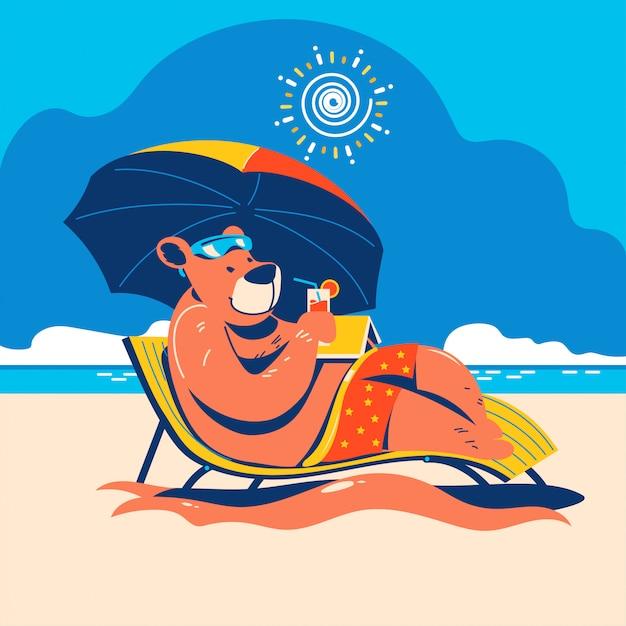 Animal D'été. Séjour Ours Sur La Plage Vecteur Premium