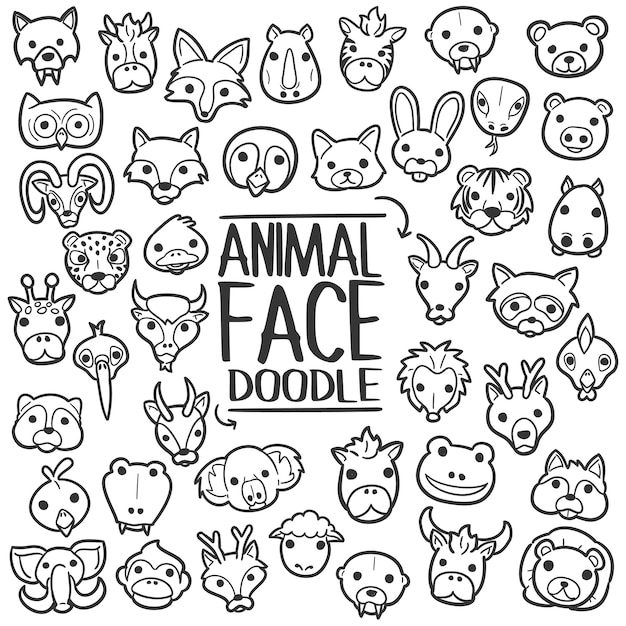 Animal face doodle clip art vecteur Vecteur Premium