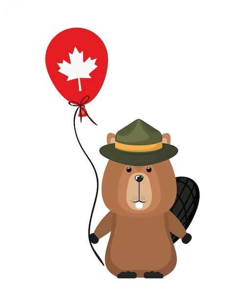 Animal forestier castor du canada Vecteur gratuit