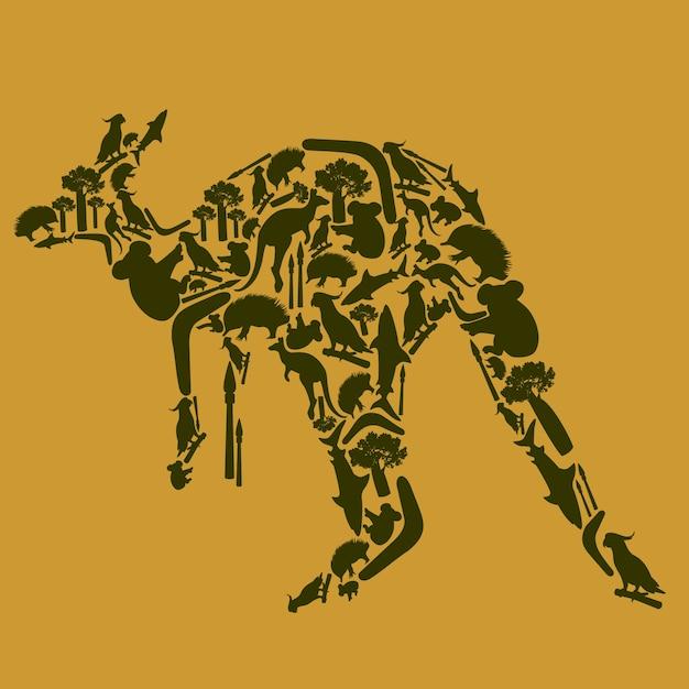 Animal Kangourou Vecteur Premium