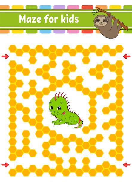 Animal labyrinthe pour les enfants. paresseux et amis iguanes. Vecteur Premium