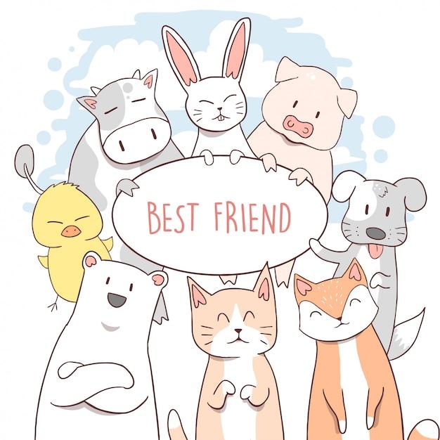 Animal mignon chat, puppy, polaire, vache, lapin, fox, porc, canard Vecteur Premium