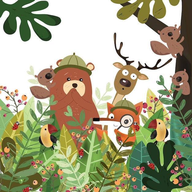 Animal mignon dans la forêt tropicale botanique. Vecteur Premium