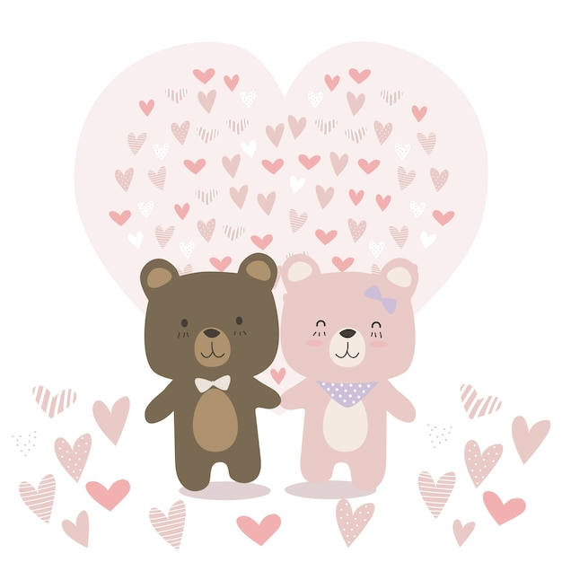Animal Mignon De Nounours Couple Amoureux De Dessin Anime Doodle