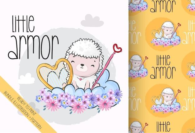Animal Mignon Petit Ange Bébé Mouton Avec Motif Sans Couture Vecteur Premium