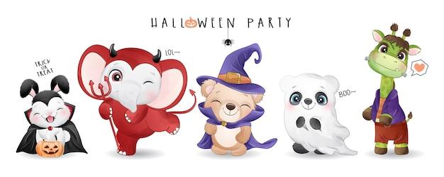 Animal Mignon Pour La Journée D'halloween Avec Illustration Aquarelle Vecteur Premium