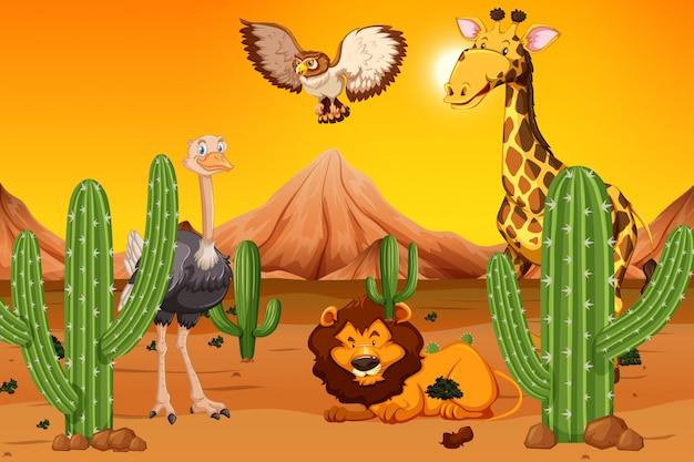 Animal sauvage dans le désert Vecteur gratuit