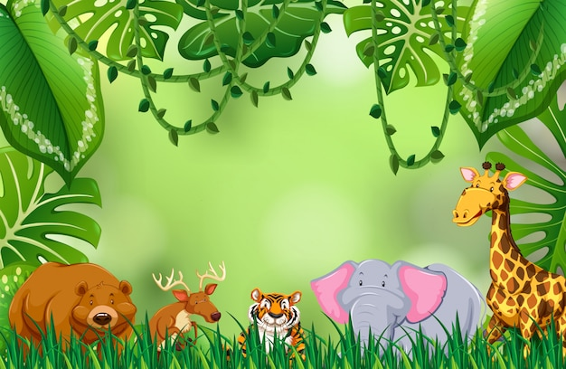 Animal sauvage dans la jungle Vecteur Premium