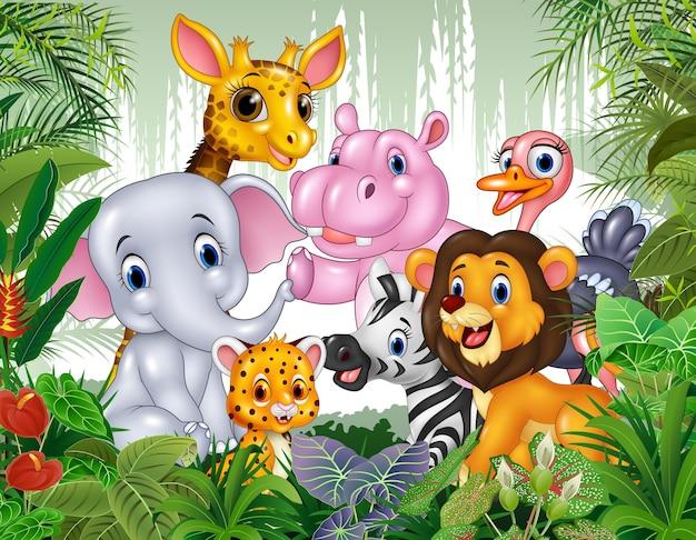 Animal sauvage de dessin animé dans la jungle Vecteur Premium