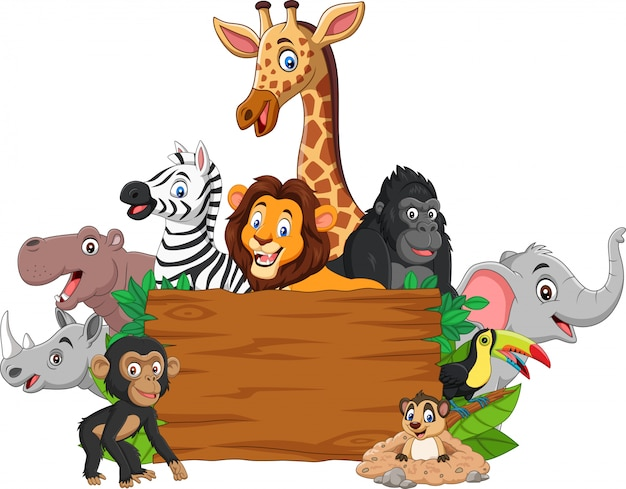 Animal sauvage de dessin animé avec panneau vierge Vecteur Premium