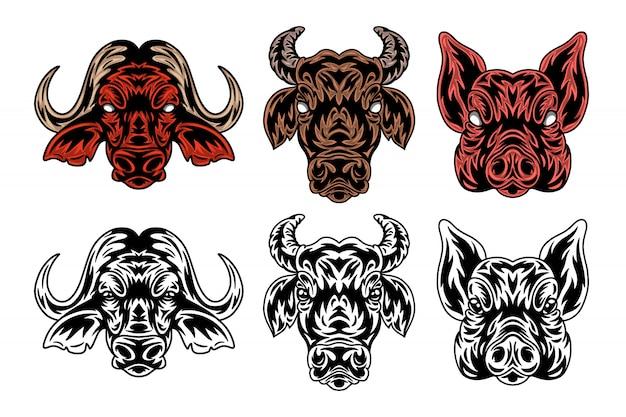 Animal visage buffalo, vache, cochon style vintage. Vecteur Premium