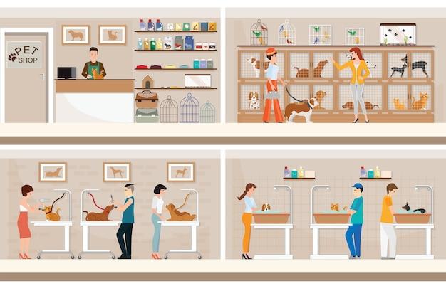 Animalerie moderne avec des cages d'animaux. Vecteur Premium