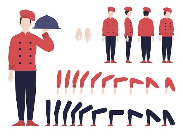 Animation De Chef Italien Sertie De Parties De L'homme Et Du Corps Dans Différentes Positions Et Divers Gestes Isolés Vecteur gratuit