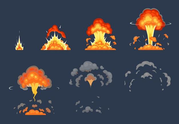 Animation D Explosion De Bombe De Dessin Anime Explosion D Images Animees Effet D Explosion Atomique Et Explosions Fumee Illustration Set Vecteur Premium